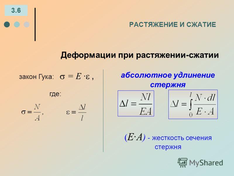 РАСТЯЖЕНИЕ И СЖАТИЕ Деформации при растяжении-сжатии 3.6 закон Гука: = Е ·, где: абсолютное удлинение стержня ( Е·А ) - жесткость сечения стержня