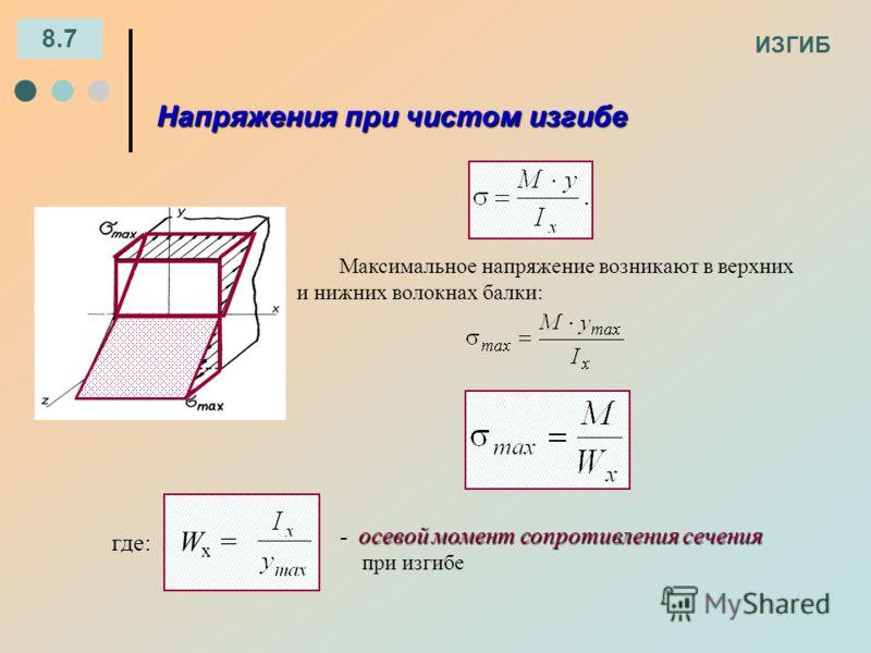 ИЗГИБ 8.7 Напряжения при чистом изгибе осевой момент сопротивления сечения - осевой момент сопротивления сечения при изгибе где: W x = Максимальное напряжение возникают в верхних и нижних волокнах балки: