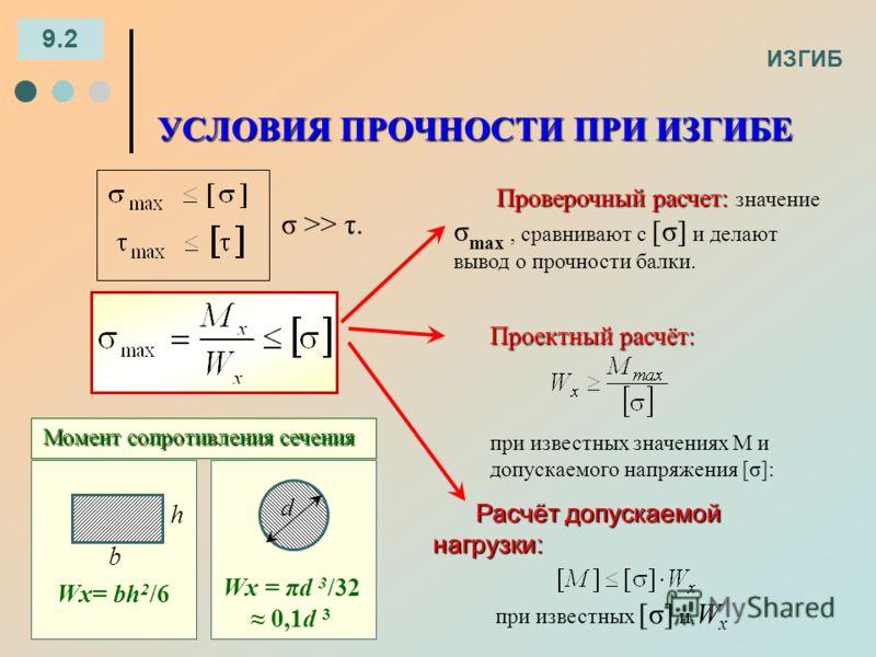 ИЗГИБ 9.2 УСЛОВИЯ ПРОЧНОСТИ ПРИ ИЗГИБЕ σ >> τ. Проверочный расчет: Проверочный расчет: значение σ max, сравнивают с [σ] и делают вывод о прочности балки. Расчётдопускаемой нагрузки: Расчёт допускаемой нагрузки: при известных [σ] и W x Проектный расчё