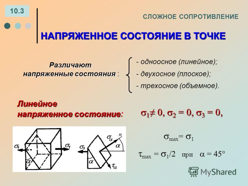 СЛОЖНОЕ СОПРОТИВЛЕНИЕ 10.3 НАПРЯЖЕННОЕ СОСТОЯНИЕ В ТОЧКЕ Линейное напряженное состояние напряженное состояние : 1 0, 2 = 0, 3 = 0, 1 0, 2 = 0, 3 = 0, max = 1 max = 1 /2 при = 45 - одноосное (линейное); - двухосное (плоское); - трехосное (объемное).Ра