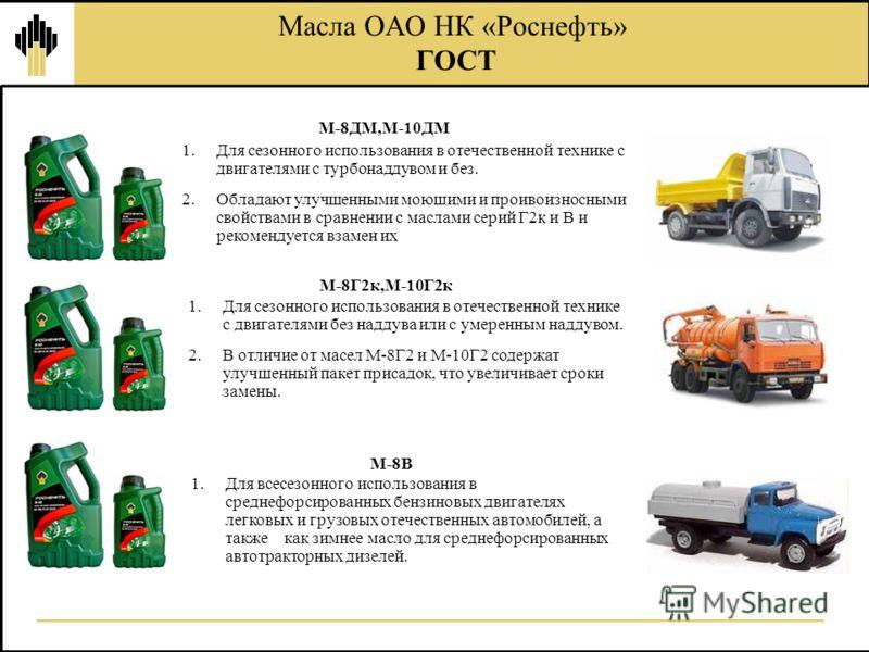 Масла ОАО НК «Роснефть» ГОСТ 1.Для сезонного использования в отечественной технике с двигателями с турбонаддувом и без. 2.Обладают улучшенными моющими и проивоизносными свойствами в сравнении с маслами серий Г2к и В и рекомендуется взамен их М-8ДМ,М-