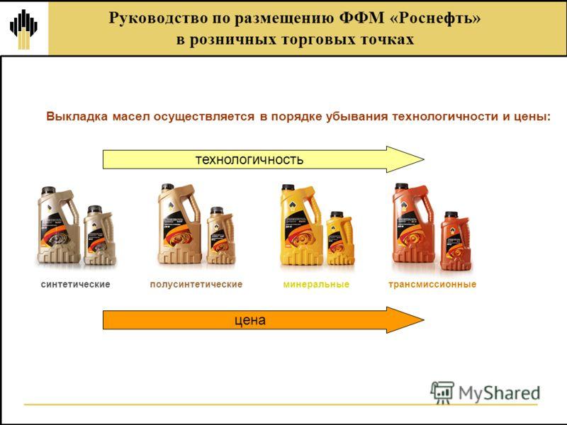 Руководство по размещению ФФМ «Роснефть» в розничных торговых точках Выкладка масел осуществляется в порядке убывания технологичности и цены: технологичность цена синтетическиеполусинтетическиеминеральныетрансмиссионные