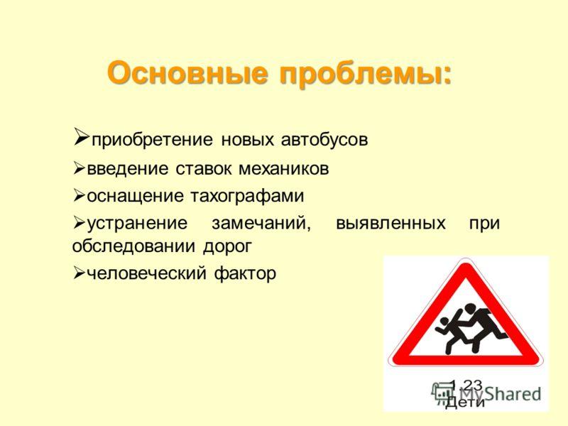 Основные проблемы: приобретение новых автобусов введение ставок механиков оснащение тахографами устранение замечаний, выявленных при обследовании дорог человеческий фактор