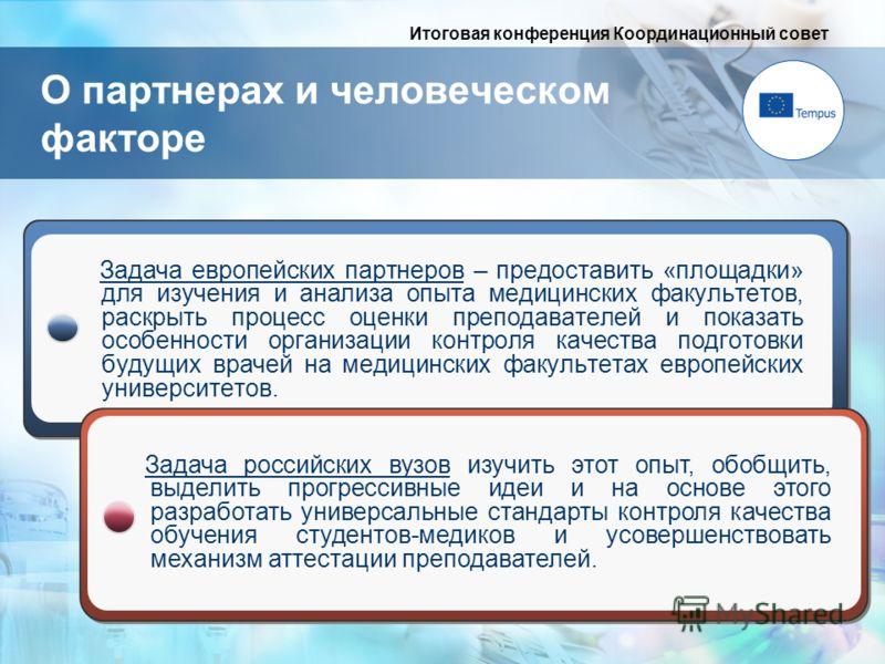 Итоговая конференция Координационный совет Задача европейских партнеров – предоставить «площадки» для изучения и анализа опыта медицинских факультетов, раскрыть процесс оценки преподавателей и показать особенности организации контроля качества подгот