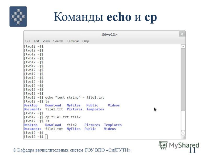 Команды echo и cp 11 © Кафедра вычислительных систем ГОУ ВПО «СибГУТИ»