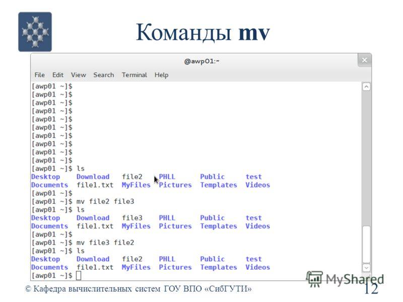 Команды mv 12 © Кафедра вычислительных систем ГОУ ВПО «СибГУТИ»