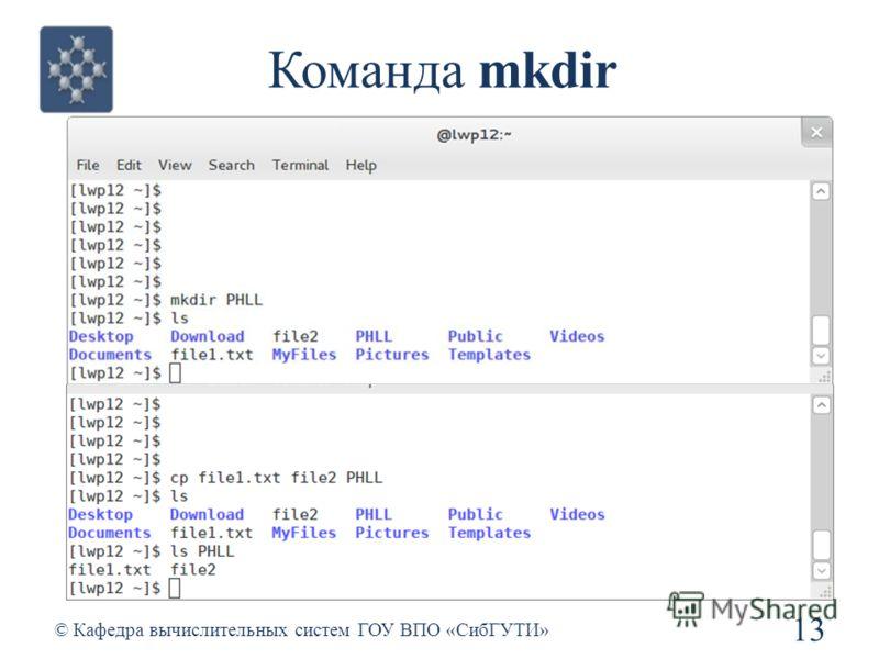 Команда mkdir 13 © Кафедра вычислительных систем ГОУ ВПО «СибГУТИ»