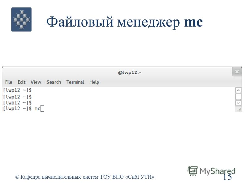 Файловый менеджер mc 15 © Кафедра вычислительных систем ГОУ ВПО «СибГУТИ»