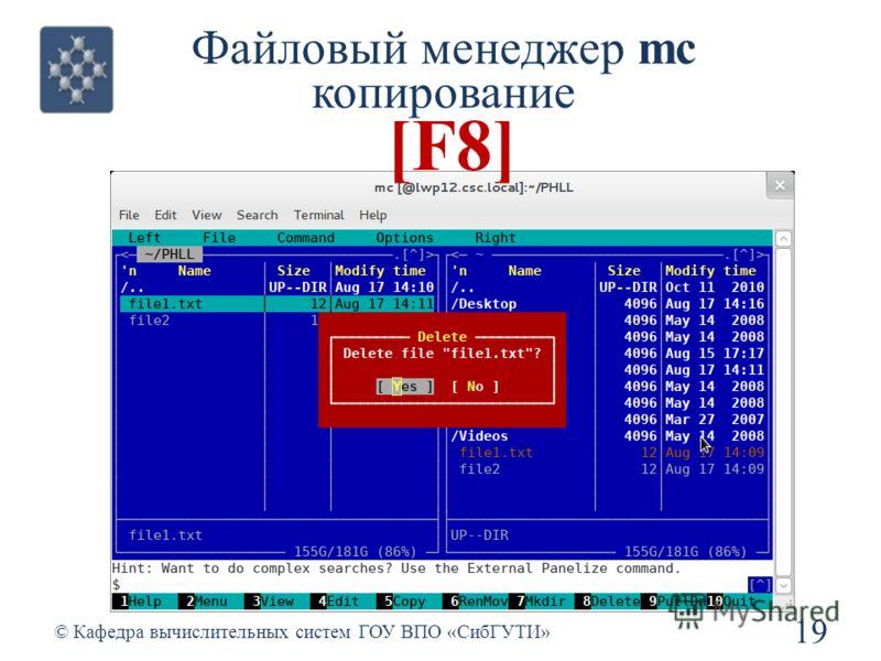 Файловый менеджер mc копирование 19 © Кафедра вычислительных систем ГОУ ВПО «СибГУТИ» [F8]