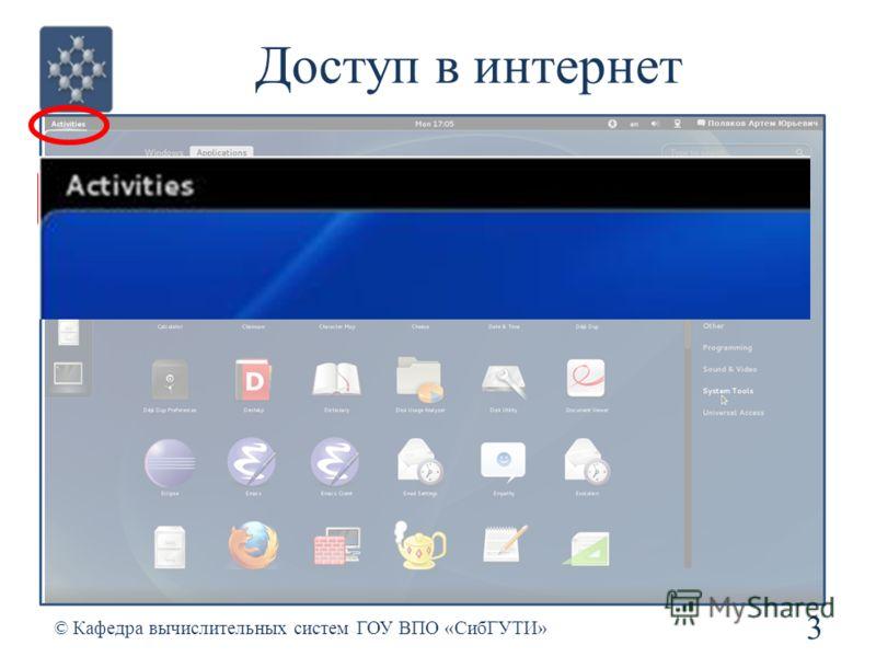 Доступ в интернет 3 © Кафедра вычислительных систем ГОУ ВПО «СибГУТИ»
