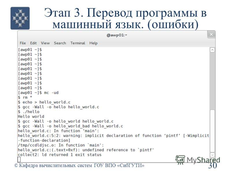 Этап 3. Перевод программы в машинный язык. (ошибки) 30 © Кафедра вычислительных систем ГОУ ВПО «СибГУТИ»