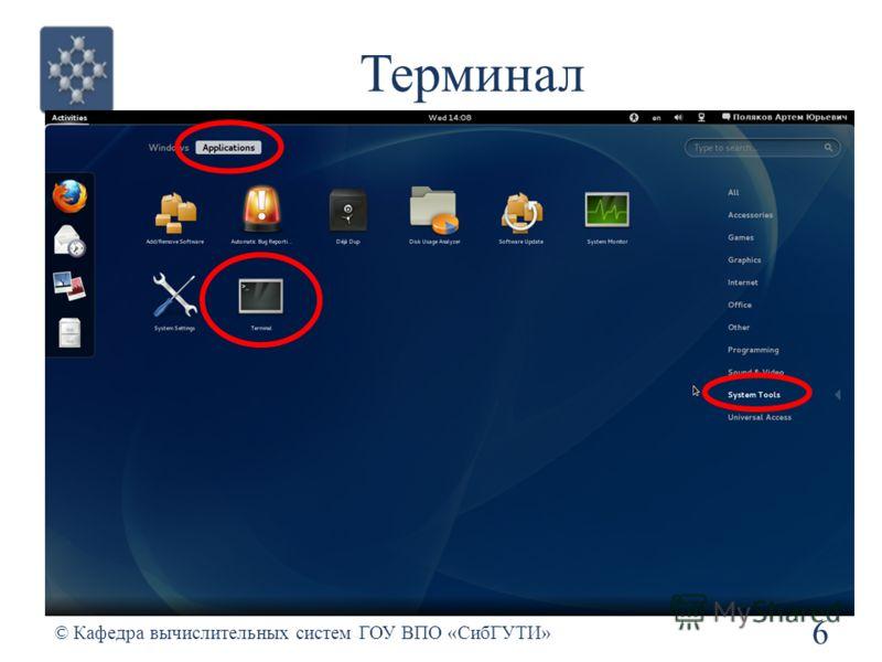Терминал 6 © Кафедра вычислительных систем ГОУ ВПО «СибГУТИ»
