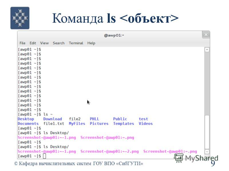 Команда ls 9 © Кафедра вычислительных систем ГОУ ВПО «СибГУТИ»