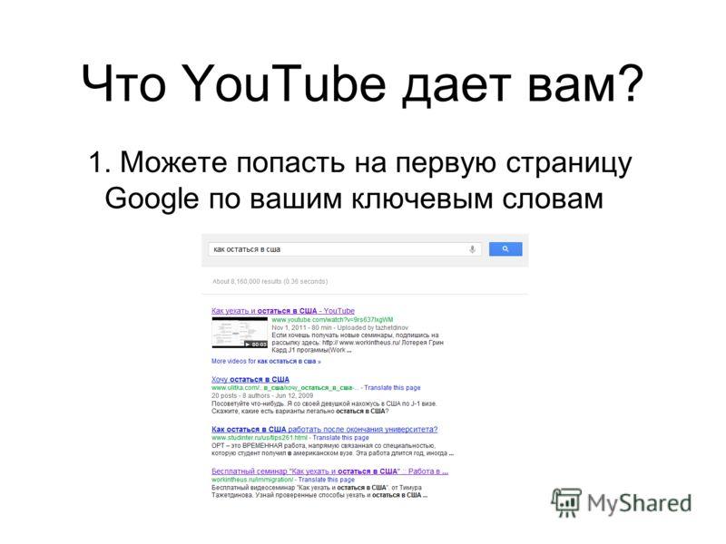 Что YouTube дает вам? 1. Можете попасть на первую страницу Google по вашим ключевым словам