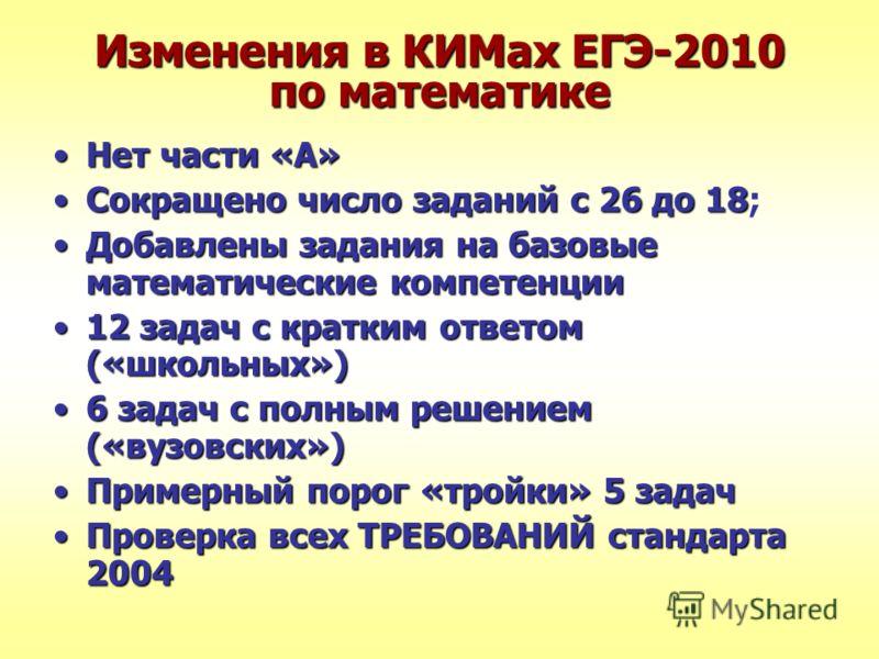 Изменения в КИМах ЕГЭ-2010 по математике Нет части «А»Нет части «А» Сокращено число заданий с 26 до 18Сокращено число заданий с 26 до 18; Добавлены задания на базовые математические компетенцииДобавлены задания на базовые математические компетенции 1
