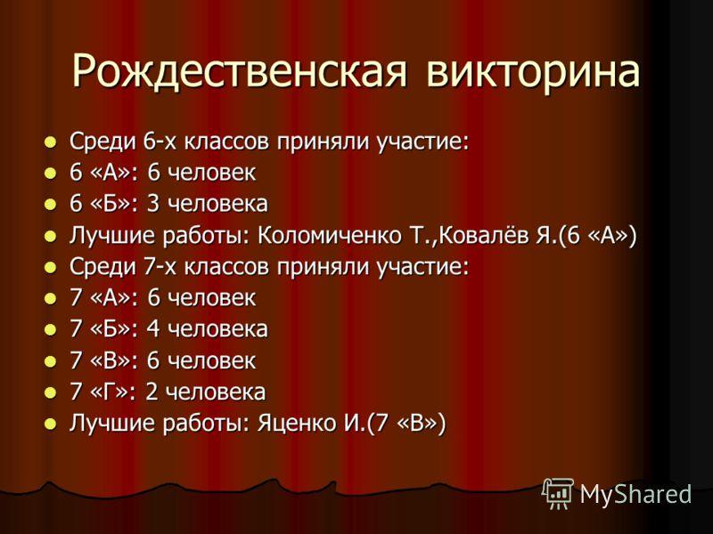 Рождественская викторина Среди 6-х классов приняли участие: Среди 6-х классов приняли участие: 6 «А»: 6 человек 6 «А»: 6 человек 6 «Б»: 3 человека 6 «Б»: 3 человека Лучшие работы: Коломиченко Т.,Ковалёв Я.(6 «А») Лучшие работы: Коломиченко Т.,Ковалёв
