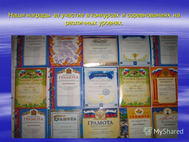 Наши награды за участие в конкурсах и соревнованиях на различных уровнях.