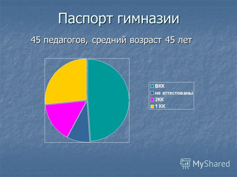 Паспорт гимназии 45 педагогов, средний возраст 45 лет