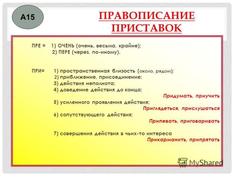ПРАВОПИСАНИЕ ПРИСТАВОК ПРЕ = 1) ОЧЕНЬ (очень, весьма, крайне); 2) ПЕРЕ (через, по-иному). ПРИ= 1) пространственная близость ( около, рядом); 2) приближение, присоединение; 3) действия неполнота; 4) доведение действия до конца; Придумать, приучить 5)