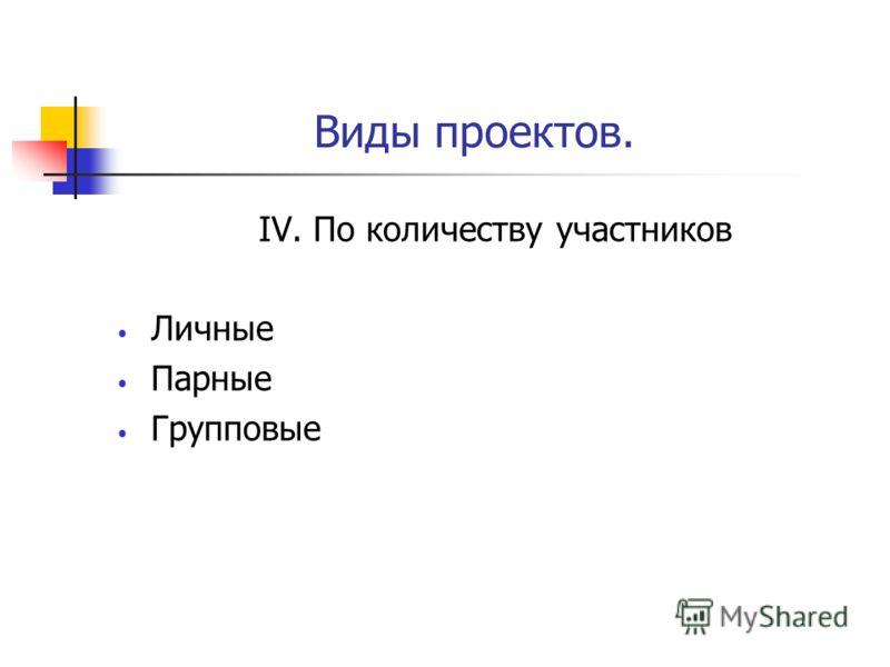 Виды проектов. IV. По количеству участников Личные Парные Групповые
