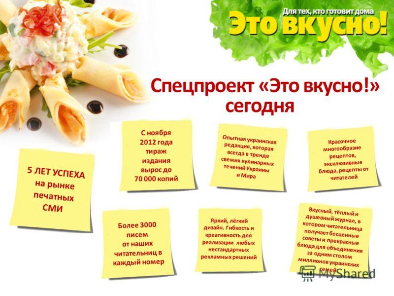 Спецпроект «Это вкусно!» сегодня это: 5 ЛЕТ УСПЕХА на рынке печатных СМИ С ноября 2012 года тираж издания вырос до 70 000 копий Более 3000 писем от наших читательниц в каждый номер Опытная украинская редакция, которая всегда в тренде свежих кулинарны