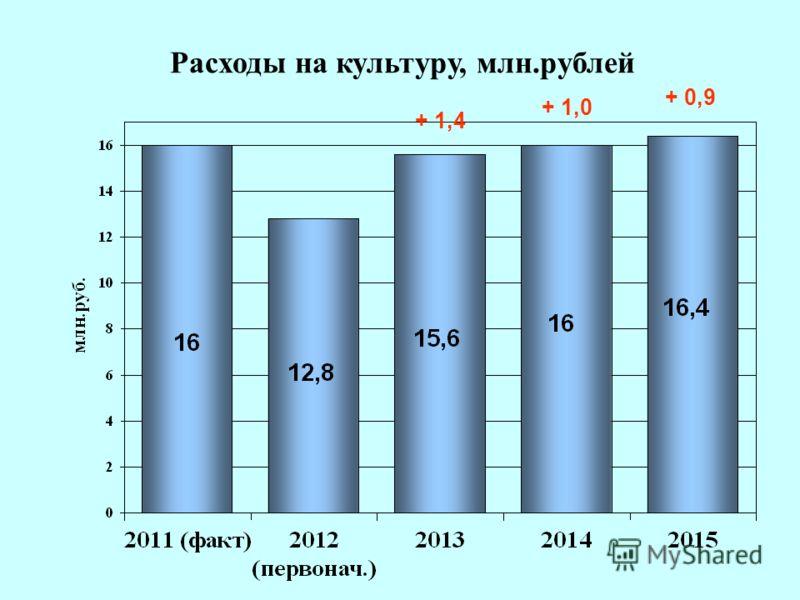 17 Расходы на культуру, млн.рублей + 1,4 + 1,0 + 0,9
