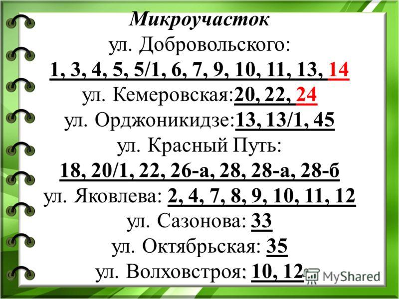 : Микроучасток ул. Добровольского: 1, 3, 4, 5, 5/1, 6, 7, 9, 10, 11, 13, 14 ул. Кемеровская:20, 22, 24 ул. Орджоникидзе:13, 13/1, 45 ул. Красный Путь: 18, 20/1, 22, 26-а, 28, 28-а, 28-б ул. Яковлева: 2, 4, 7, 8, 9, 10, 11, 12 ул. Сазонова: 33 ул. Окт