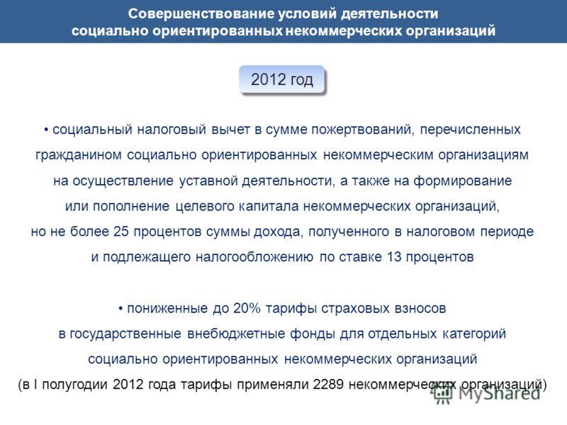 Совершенствование условий деятельности социально ориентированных некоммерческих организаций 2012 год социальный налоговый вычет в сумме пожертвований, перечисленных гражданином социально ориентированных некоммерческим организациям на осуществление ус