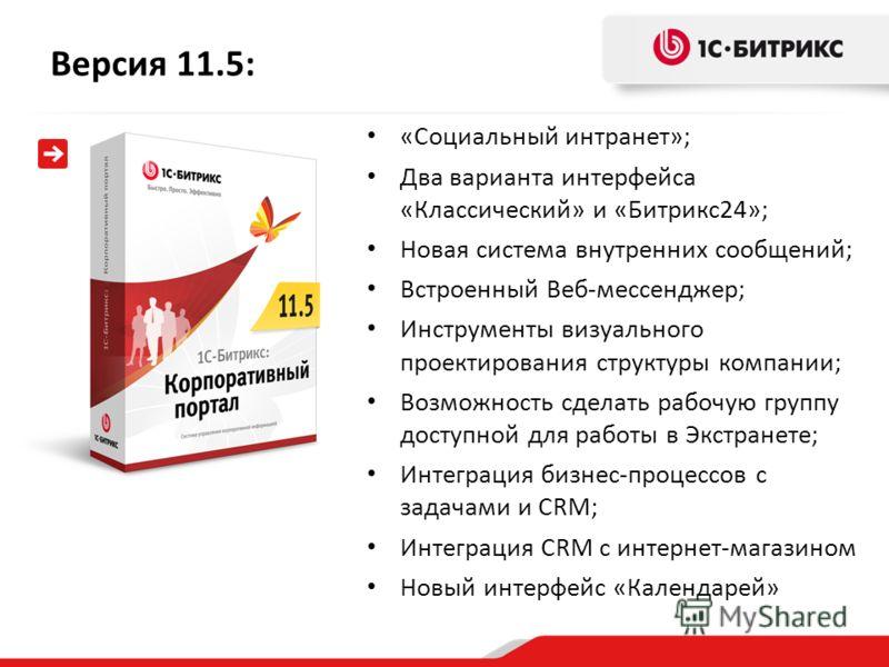 Версия 11.5: «Социальный интранет»; Два варианта интерфейса «Классический» и «Битрикс24»; Новая система внутренних сообщений; Встроенный Веб-мессенджер; Инструменты визуального проектирования структуры компании; Возможность сделать рабочую группу дос
