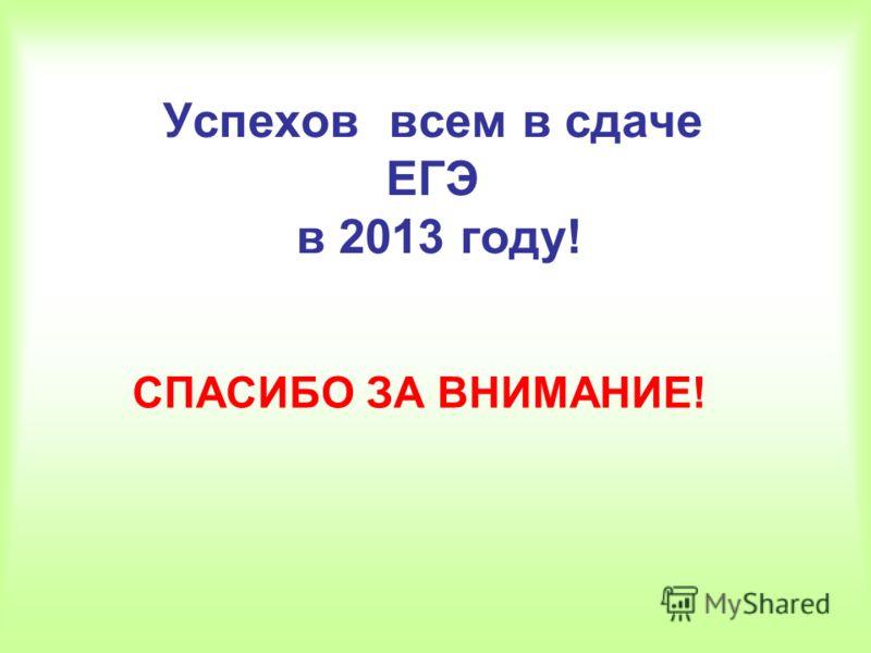 Успехов всем в сдаче ЕГЭ в 2013 году! СПАСИБО ЗА ВНИМАНИЕ!