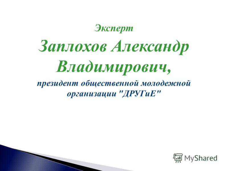 Эксперт Заплохов Александр Владимирович, президент общественной молодежной организации ДРУГиЕ
