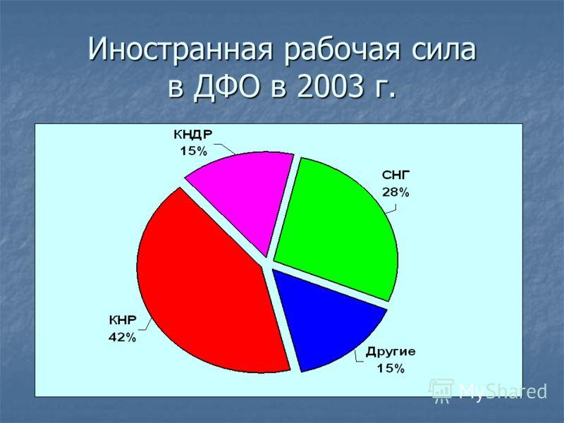 Иностранная рабочая сила в ДФО в 2003 г.