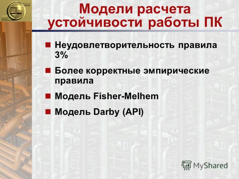Модели расчета устойчивости работы ПК n Неудовлетворительность правила 3% n Более корректные эмпирические правила n Модель Fisher-Melhem n Модель Darby (API)