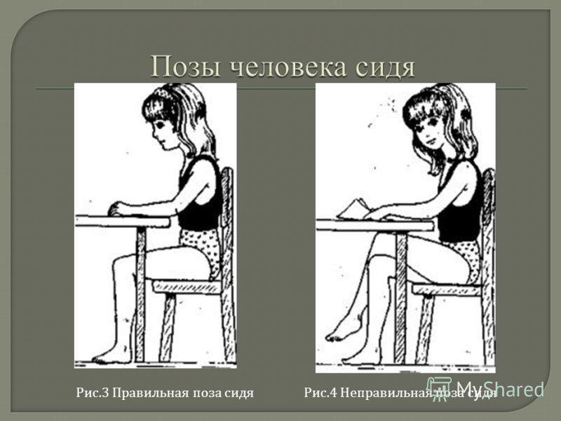 Рис.4 Неправильная поза сидяРис.3 Правильная поза сидя