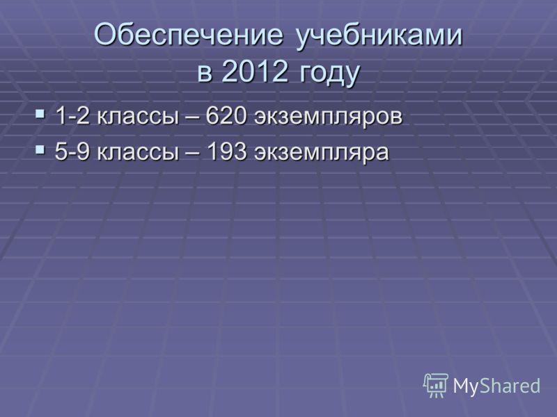 Обеспечение учебниками в 2012 году 1-2 классы – 620 экземпляров 1-2 классы – 620 экземпляров 5-9 классы – 193 экземпляра 5-9 классы – 193 экземпляра