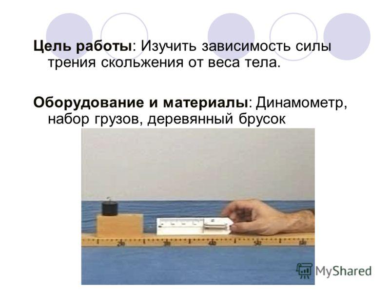 Цель работы: Изучить зависимость силы трения скольжения от веса тела. Оборудование и материалы: Динамометр, набор грузов, деревянный брусок