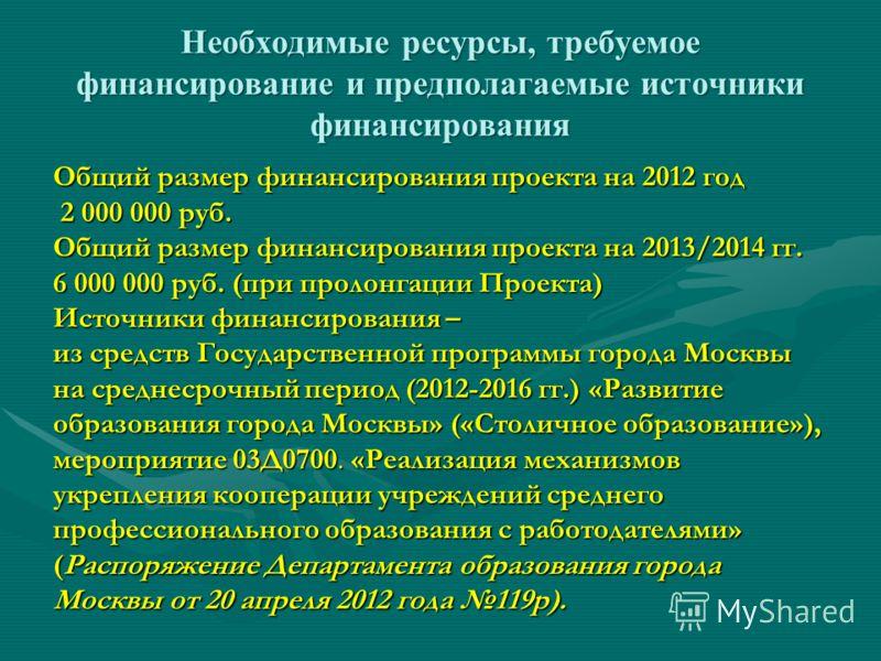 Необходимые ресурсы, требуемое финансирование и предполагаемые источники финансирования Общий размер финансирования проекта на 2012 год 2 000 000 руб. Общий размер финансирования проекта на 2013/2014 гг. 6 000 000 руб. (при пролонгации Проекта) Источ