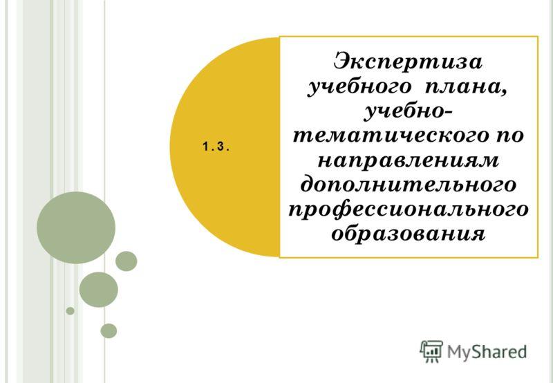 Экспертиза учебного плана, учебно- тематического по направлениям дополнительного профессионального образования 1.3.