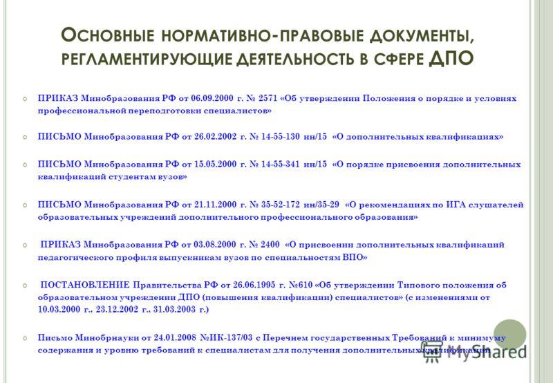 О СНОВНЫЕ НОРМАТИВНО - ПРАВОВЫЕ ДОКУМЕНТЫ, РЕГЛАМЕНТИРУЮЩИЕ ДЕЯТЕЛЬНОСТЬ В СФЕРЕ ДПО ПРИКАЗ Минобразования РФ от 06.09.2000 г. 2571 «Об утверждении Положения о порядке и условиях профессиональной переподготовки специалистов» ПИСЬМО Минобразования РФ