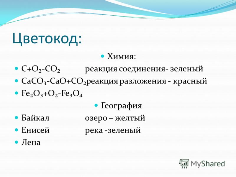 Цветокод: Химия: C+O-COреакция соединения- зеленый CaCO-CaO+COреакция разложения - красный FeO+O-FeO География Байкалозеро – желтый Енисейрека -зеленый Лена