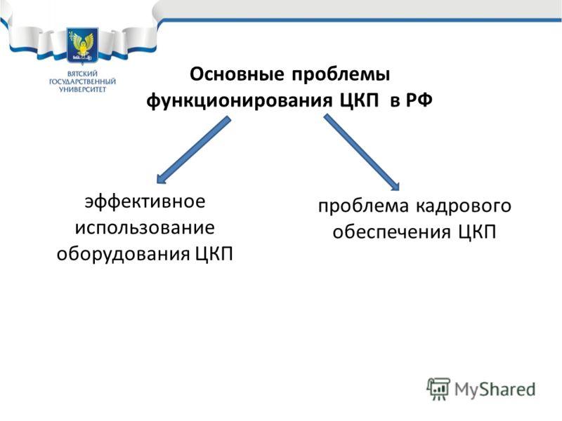 Основные проблемы функционирования ЦКП в РФ эффективное использование оборудования ЦКП проблема кадрового обеспечения ЦКП