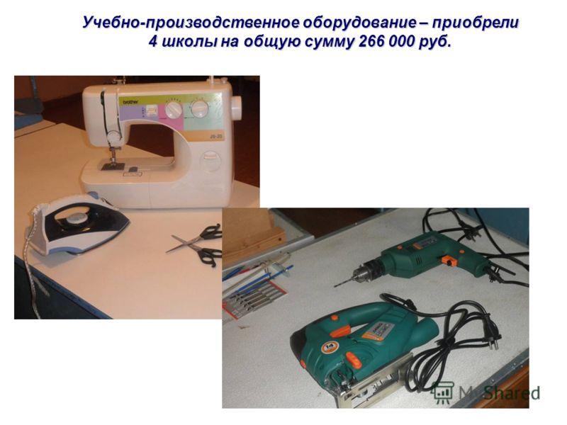 Учебно-производственное оборудование – приобрели 4 школы на общую сумму 266 000 руб.