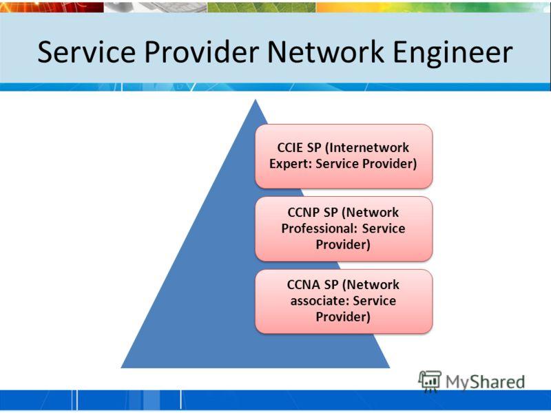Service Provider Network Engineer CCIE SP (Internetwork Expert: Service Provider) CCNP SP (Network Professional: Service Provider) CCNA SP (Network associate: Service Provider)