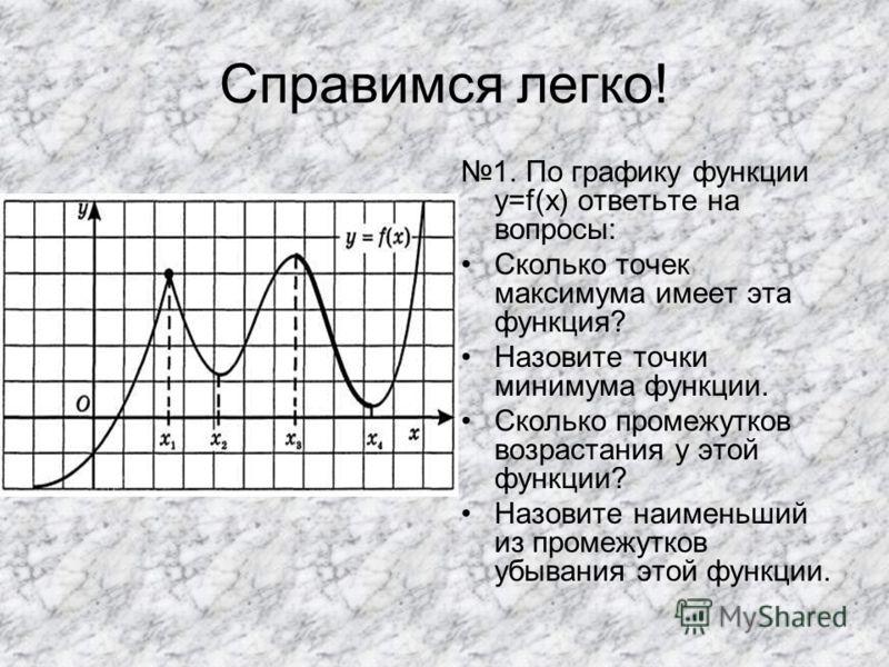Справимся легко! 1. По графику функции y=f(x) ответьте на вопросы: Сколько точек максимума имеет эта функция? Назовите точки минимума функции. Сколько промежутков возрастания у этой функции? Назовите наименьший из промежутков убывания этой функции.