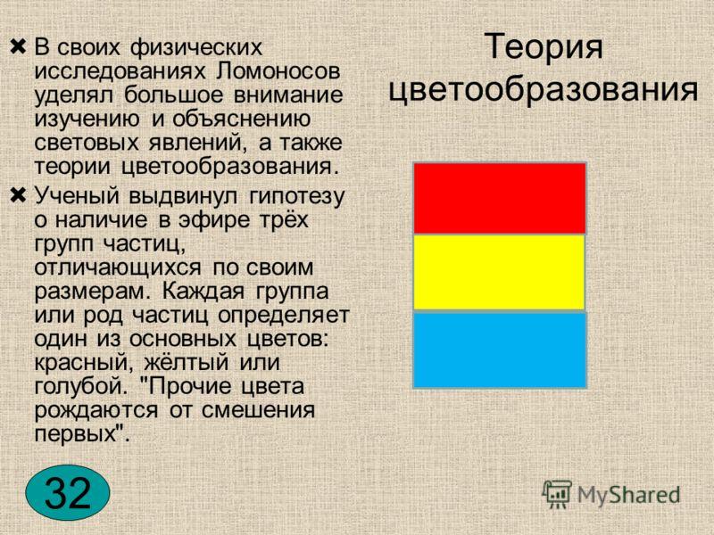 Теория цветообразования В своих физических исследованиях Ломоносов уделял большое внимание изучению и объяснению световых явлений, а также теории цветообразования. Ученый выдвинул гипотезу о наличие в эфире трёх групп частиц, отличающихся по своим ра