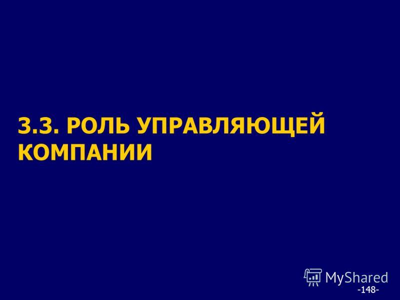 -148- 3.3. РОЛЬ УПРАВЛЯЮЩЕЙ КОМПАНИИ
