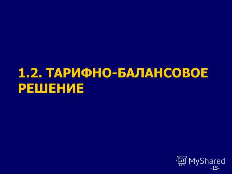 -15- 1.2. ТАРИФНО-БАЛАНСОВОЕ РЕШЕНИЕ