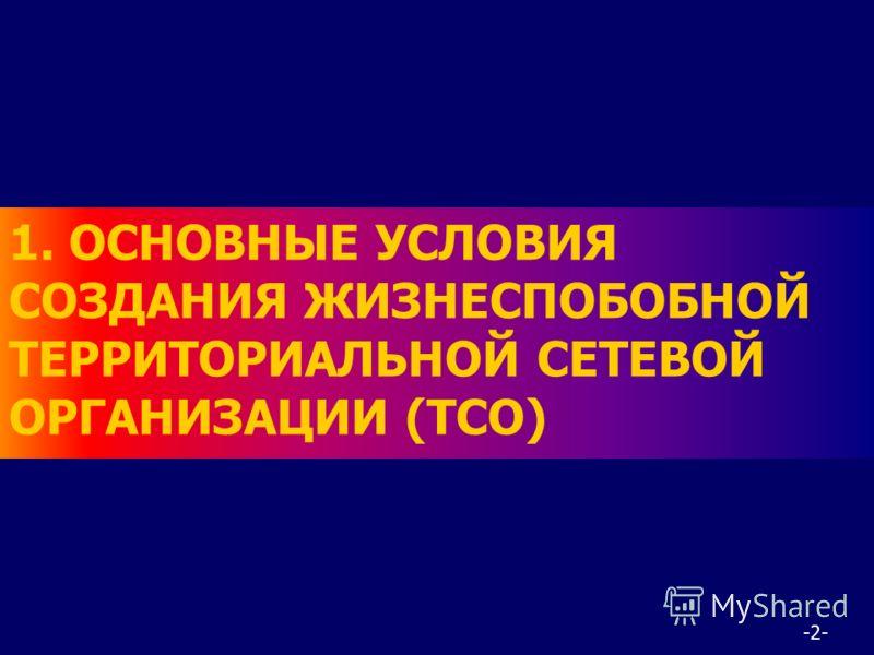 -2- 1. ОСНОВНЫЕ УСЛОВИЯ СОЗДАНИЯ ЖИЗНЕСПОБОБНОЙ ТЕРРИТОРИАЛЬНОЙ СЕТЕВОЙ ОРГАНИЗАЦИИ (ТСО)