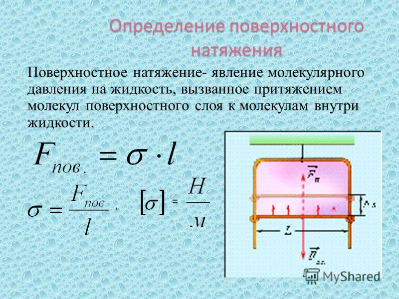 Определение поверхностного натяжения Поверхностное натяжение- явление молекулярного давления на жидкость, вызванное притяжением молекул поверхностного слоя к молекулам внутри жидкости., =