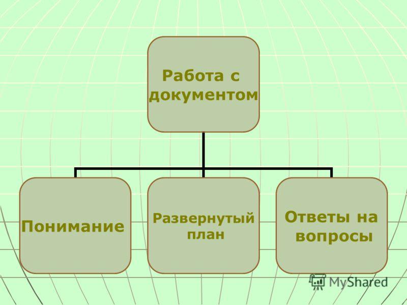 Работа с документом Понимание Развернутый план Ответы на вопросы